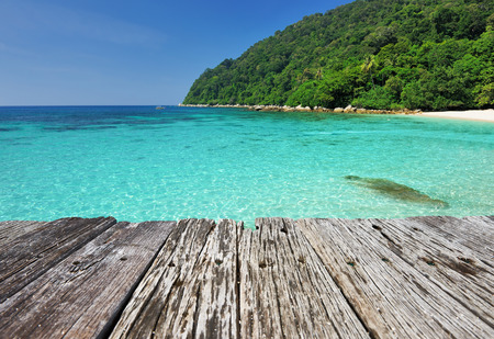 perhentian: Beautiful beach and old wooden pier at Perhentian islands, Malaysia
