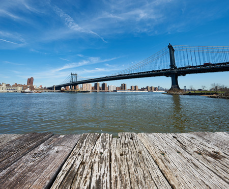 manhattan bridge: Manhattan Bridge and skyline view from Brooklyn in New York City Stock Photo