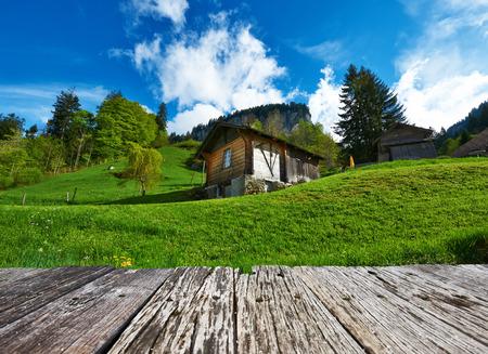 chalets: Swiss chalet near Reichenbach in Switzerland Stock Photo