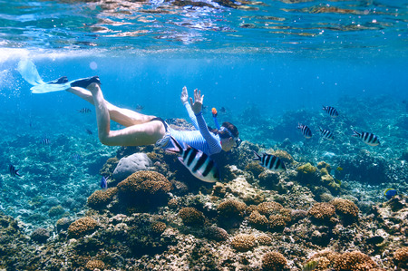 Woman with mask snorkeling in clear water 스톡 콘텐츠