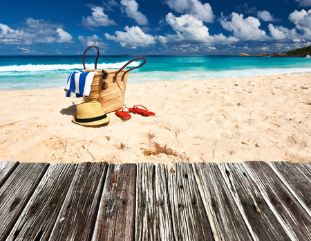 Beautiful beach with bag at Seychelles, La Digue 스톡 콘텐츠