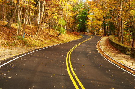 scenic highway: Autumn scene with road in forest at Letchworth State Park