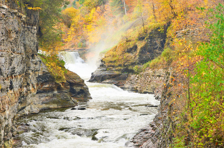 autumn landscape: Autumn scene landscape of waterfalls and gorge at Letchworth State Park Stock Photo