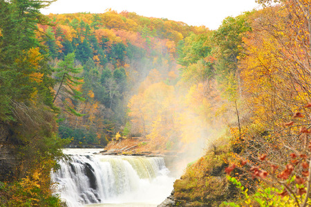 state park: Autumn scene landscape of waterfalls and gorge at Letchworth State Park Stock Photo