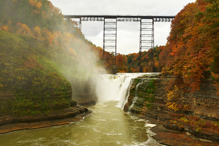cascade mountains: Autumn scene landscape of waterfalls and gorge at Letchworth State Park Stock Photo