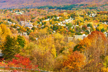 rural community: Autumn landscape with small town somewhere in New England Stock Photo
