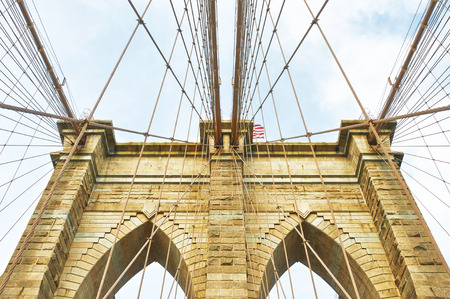 walkway: Brooklyn bridge pillar, New York City, USA Stock Photo