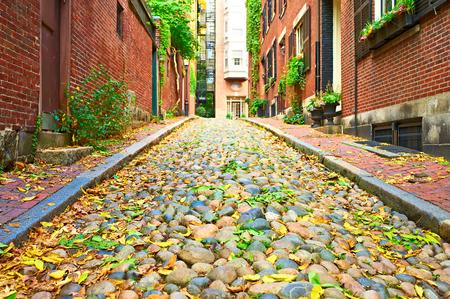 boston: Historic Acorn Street at  Beacon Hill neighborhood, Boston, USA.