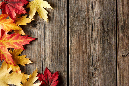 Autumn maple leaves over old wooden background with copy space Stockfoto