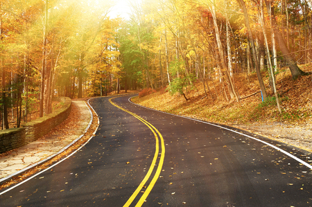 road travel: Autumn scene with road in forest at Letchworth State Park