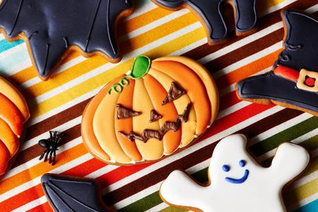gingerbread cookies: Halloween homemade gingerbread cookies over tablecloth