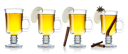 anise: Hot cider collection isolated on white with reflection