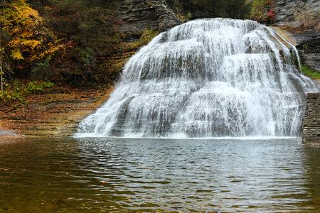 robert: Autumn scene landscape of waterfalls at Robert H. Treman State Park
