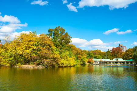 water fall: New York City Central Park in autumn day Stock Photo