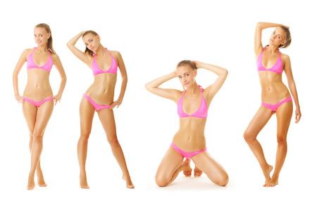 skinny: Mujer tan sexy en bikini colección aislados en fondo blanco