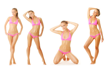 1 and group: Sexy tan woman in bikini collection isolated on white background