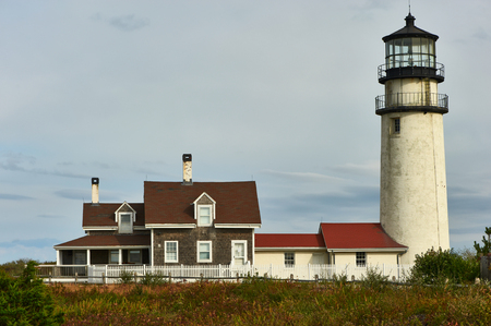cape cod: Highland Lighthouse, oldest and tallest on Cape Cod, Massachusetts, USA. Stock Photo