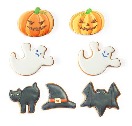 galletas de jengibre: Conjunto de galleta de jengibre de Halloween aislado en blanco