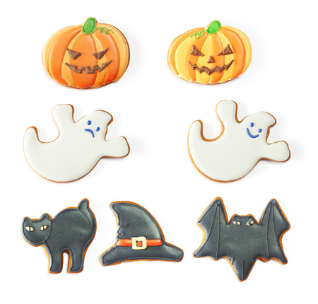 halloween black cat: Halloween gingerbread cookie set isolated on white