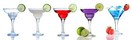 cocktail glasses: Margarita and Daiquiri cocktail collection isolated on white Stock Photo