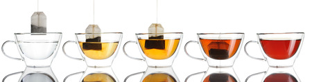 hot drink: Teabag in the cup set isolated on white Stock Photo