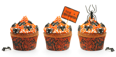 chocolate cakes: Halloween cakes with decoration set isolated on white