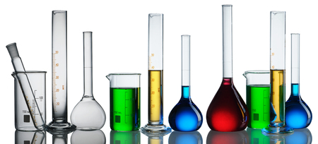 reagents: Chemical flasks with reagents collection over white