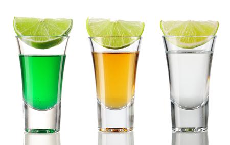 Shot drink set isolated on white
