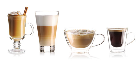 macchiato: Coffee collection isolated on white