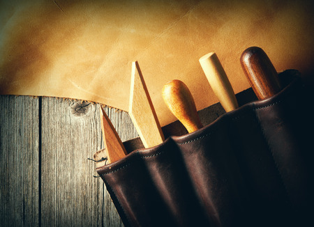 leather: Leather crafting tools still life