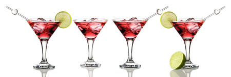 cocktail glasses: Cosmopolitan cocktail set isolated on white