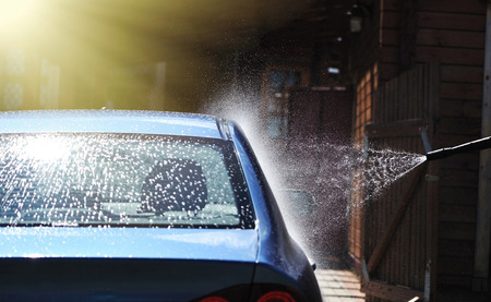 Blue car washing on open air 스톡 콘텐츠
