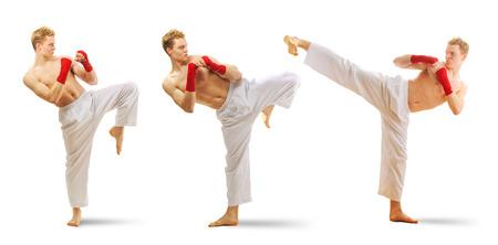 Man training taekwondo set Isolated on white background photo