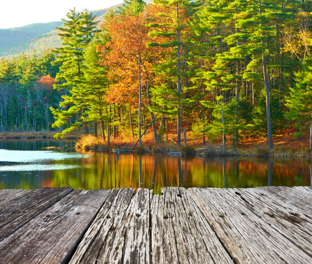 fall scenery: Pond in White Mountain National Forest, New Hampshire, USA.