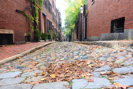 history building: Historic Acorn Street at  Beacon Hill neighborhood, Boston, USA.