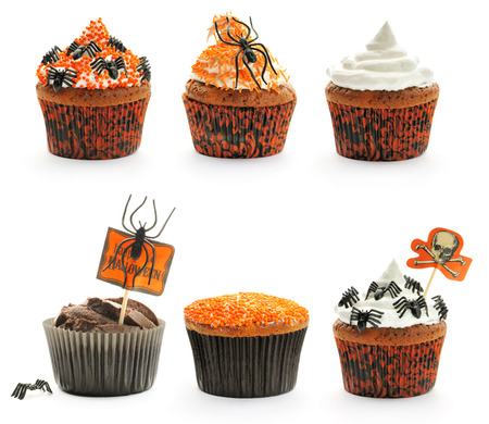 chocolate cupcakes: Halloween cakes with decoration set isolated on white