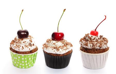 tortas de cumpleaños: Cupcakes conjunto aislado en blanco