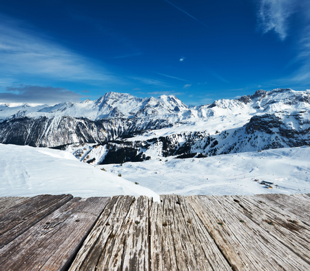Mountains with snow in winter, Meribel, Alps, France