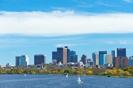 back bay: Boston and Charles river view from Harvard Bridge at Massachusetts, USA Stock Photo