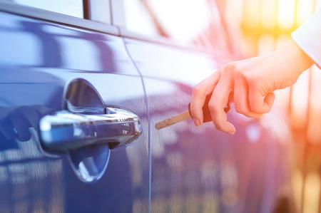 Car key in woman's hand