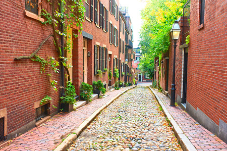 Historische Acorn Street op Beacon Hill buurt, Boston, USA. Stockfoto - 46071624