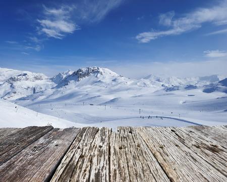 山、冬には雪でヴァル ディゼール、アルプス、フランス 写真素材