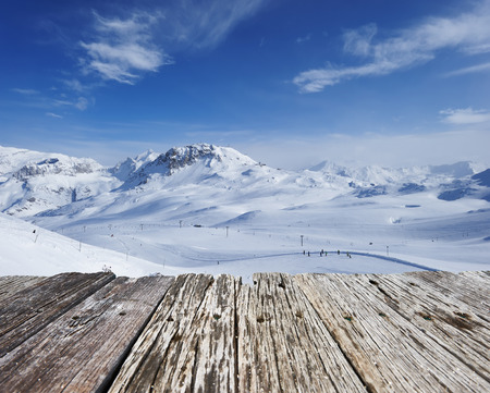 snow  ice: Mountains with snow in winter, Val-dIsere, Alps, France Stock Photo