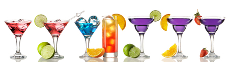 cocktails: Cocktail collection isolated on white