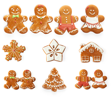 decorated christmas tree: Christmas gingerbread cookie set isolated on white
