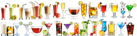 Huge collection of drinks isolated on white background