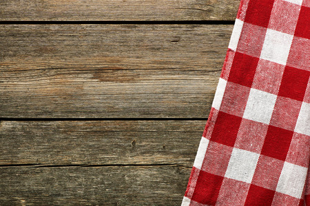 tablecloth: Red tablecloth on rustic background