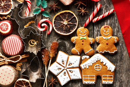sweet table: Christmas homemade gingerbread cookies on wooden table