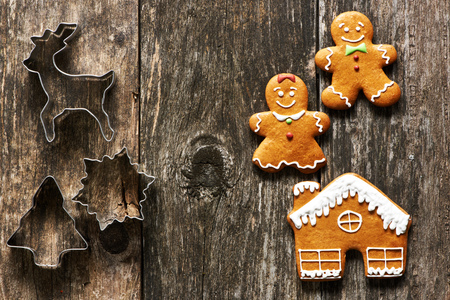 cookie cutter: Christmas homemade gingerbread couple cookies on wooden table
