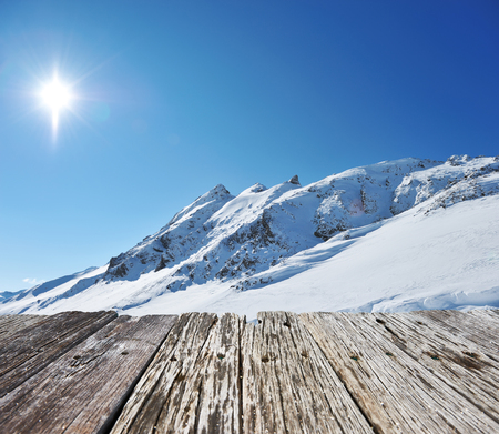 sunny season: Mountains with snow in winter, Val-dIsere, Alps, France Stock Photo